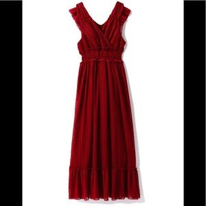 RED Pleated Tull long dress Size: small BNWT